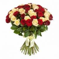 Букеты из Кремовых и Красных Роз