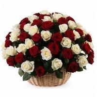 101 Красно-белая Роза Микс в Корзине
