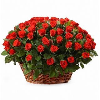 101 Роза «Эль Торо» в Корзине