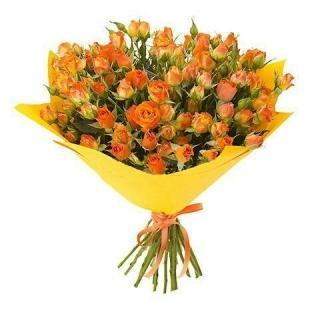 Букеты из Кустовых Оранжевых Роз
