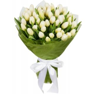 Букеты из Белых Тюльпанов в Упаковке