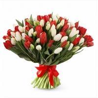 Букеты из Красных и Белых Тюльпанов