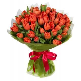 Букеты из Красных Тюльпанов в Упаковке