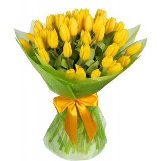 Букеты из Жёлтых Тюльпанов в Упаковке