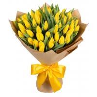 Букеты из Жёлтых Тюльпанов в Крафте
