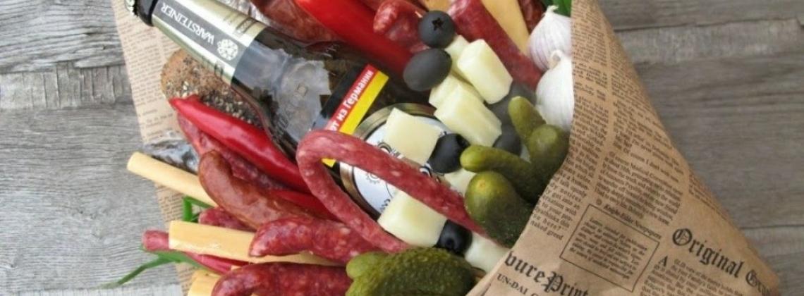 Настоящие мужской букеты из колбасы и сыра